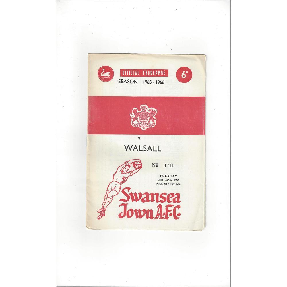 1965/66 Swansea v Walsall Football Programme