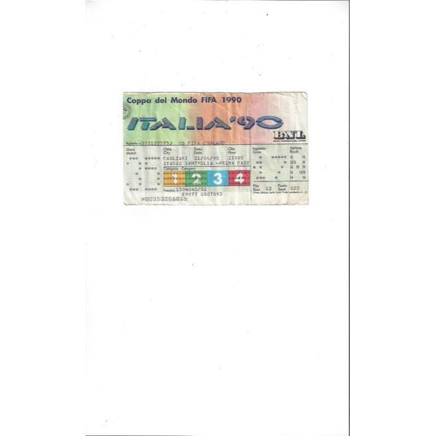 Italia 90 Match Ticket Stub England v Egypt 21st June 1990