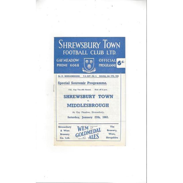 Shrewsbury Town Home Football Programmes