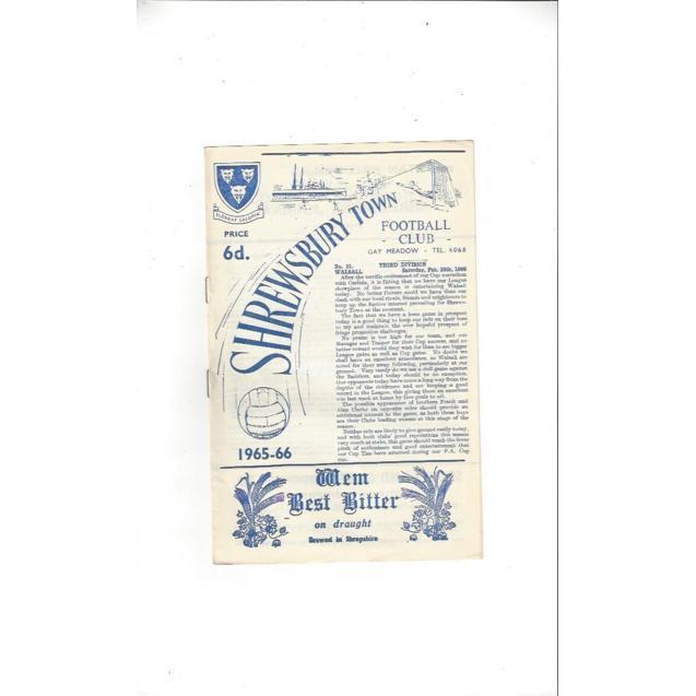 Walsall Football Programmes