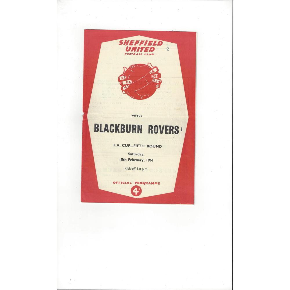 1960/61 Sheffield United v Blackburn Rovers FA Cup Football Programme