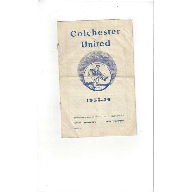 1955/56 Colchester United v Exeter City Football Programme