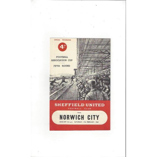 1961/62 Sheffield United v Norwich City FA Cup Football Programme
