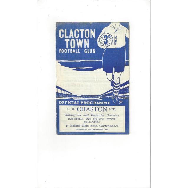 1956/57 Clapton Town v Sudbury Town Football Programme