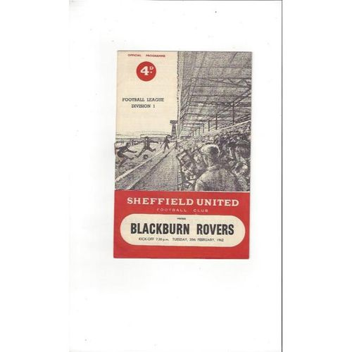 1961/62 Sheffield United v Blackburn Rovers Football Programme