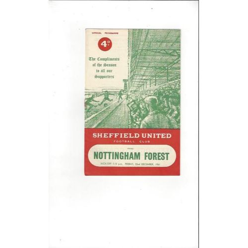 1961/62 Sheffield United v Nottingham Forest Football Programme