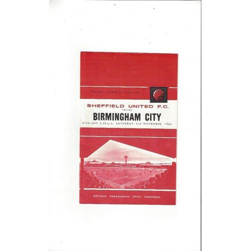 1962/63 Sheffield United v Birmingham City Football Programme