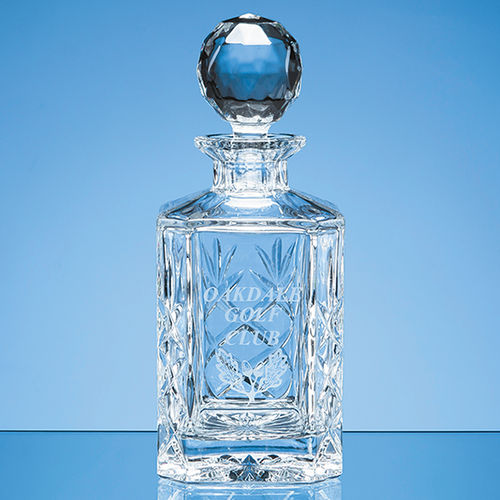 Blenheim Lead Crystal Panel Square Spirit Decanter (0.8ltr)