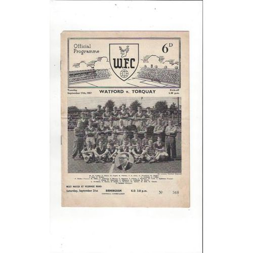 1957/58 Watford v Torquay United Football Programme
