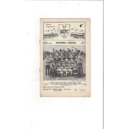 1958/59 Watford v Chester Football Programme