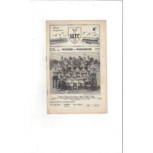 1958/59 Watford v Workington Football Programme
