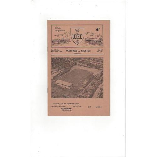 1959/60 Watford v Chester Football Programme