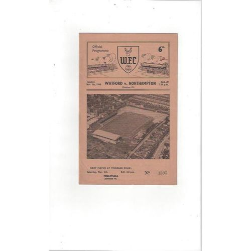 1959/60 Watford v Northampton Town Football Programme March