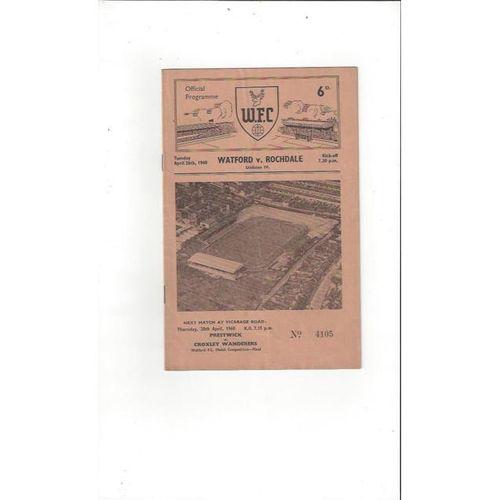 1959/60 Watford v Rochdale Football Programme