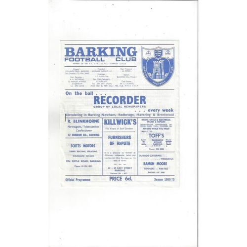 1969/70 Barking v Dagenham Football Programme