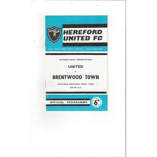 1969/70 Hereford United v Brentwood Town Football Programme