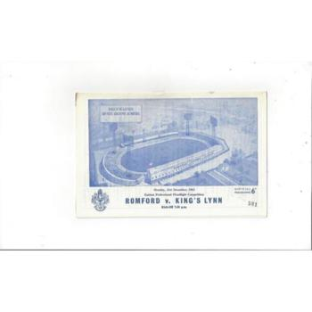 1964/65 Romford v Kings Lynn Eastern Floodlight Cup Football Programme