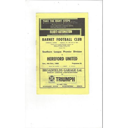 1969/70 Barnet v Hereford United Football Programme