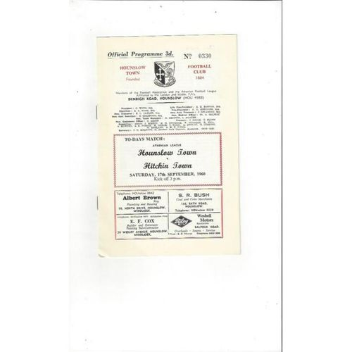 1960/61 Hounslow Town v Hitchin Town Football Programme