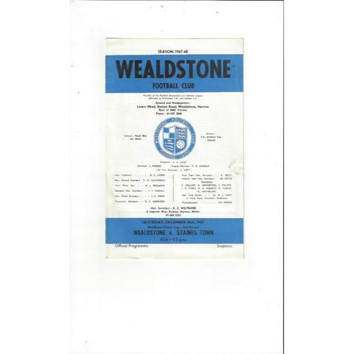 1967/68 Wealdstone v Staines Town Middlesex Senior Cup Football Programme