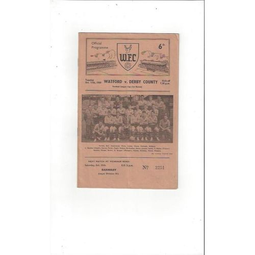1960/61 Watford v Derby County League Cup Football Programme