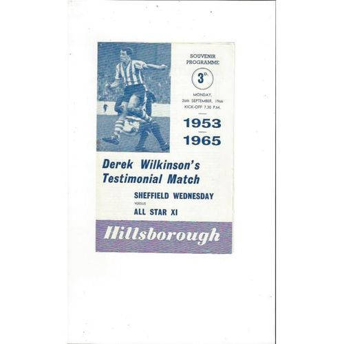 1966 Sheffield Wednesday v All Star X1 Derek Wilkinson's Testimonial Football Programme