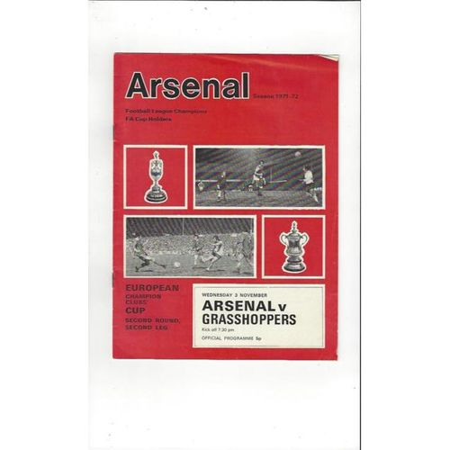 Arsenal v Grasshoppers European Cup Football Programme 1971/72