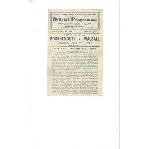 1945/46 Bournemouth v Walsall South Cup Final Football Programme @ Chelsea