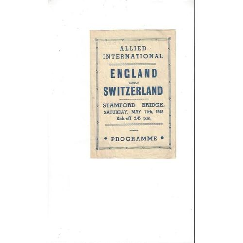 1946 England v Switzerland Football Programme Pirate edition @ Chelsea