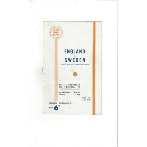 1947 England v Sweden Football Programme at Arsenal
