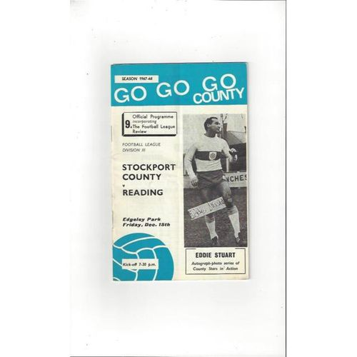 1967/68 Stockport County v Reading Football Programme + League Review