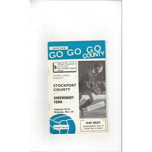 1967/68 Stockport County v Shrewsbury Town Football Programme + League Review