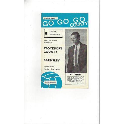 1968/69 Stockport County v Barnsley Football Programme