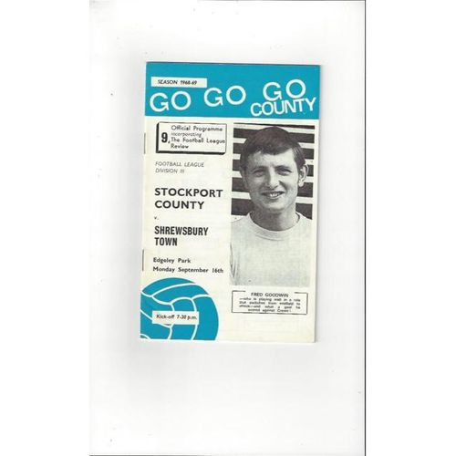 1968/69 Stockport County v Shrewsbury Town Football Programme + League Review