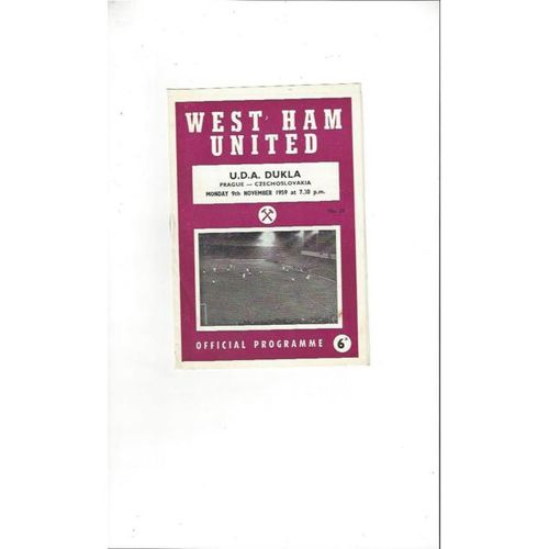 West Ham United v U.D.A. Dukla Friendly Football Programme 1959/60