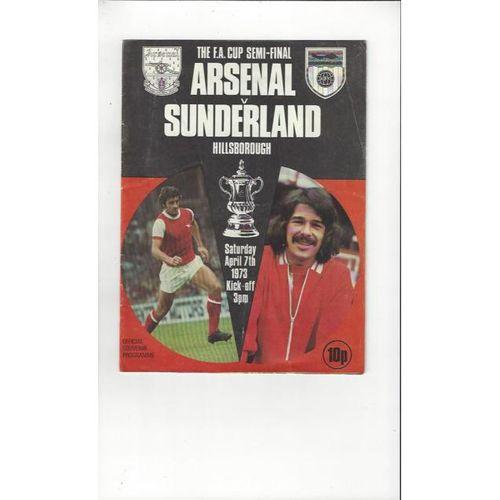 Arsenal v Sunderland FA Cup Semi Final Programme 1973 @ Sheffield Wednesday