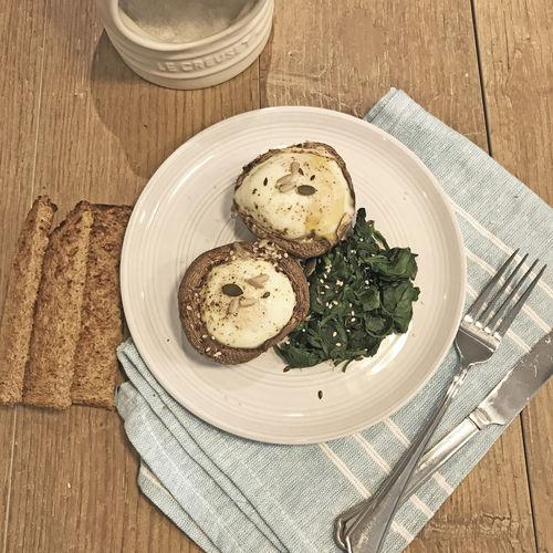 Baked Mushroom Eggs & Spinach