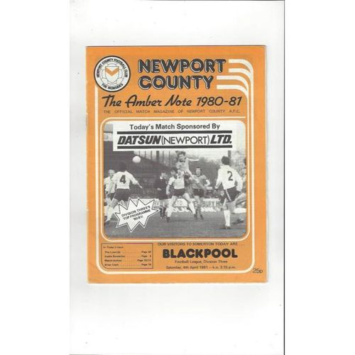 Newport County v Blackpool 1980/81