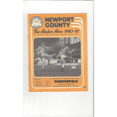 Newport County v Chesterfield 1980/81