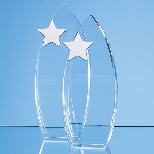 Optical Crystal Arch Award with Silver Star (23cm)