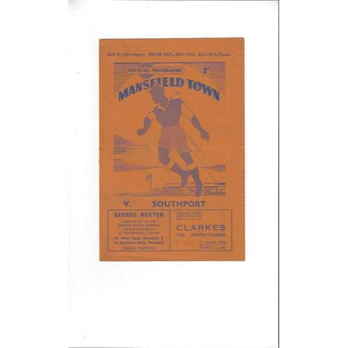 1949/50 Mansfield Town v Southport Football Programme