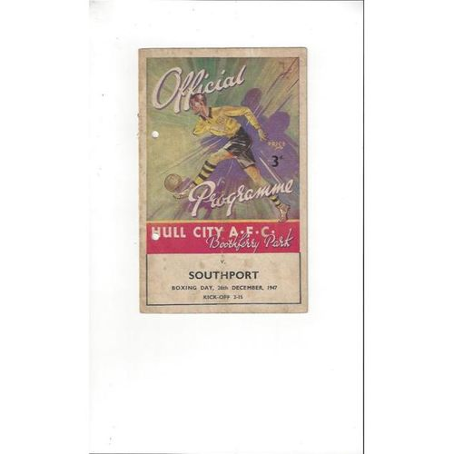 1947/48 Hull City v Southport Football Programme Dec