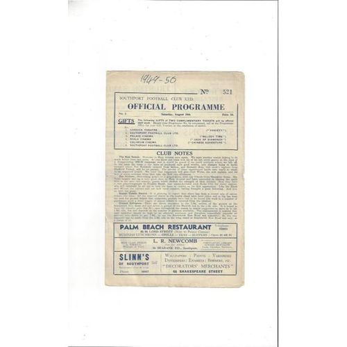 1949/50 Southport v Mansfield Town Football Programme