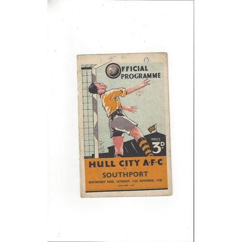 1948/49 Hull City v Southport Football Programme