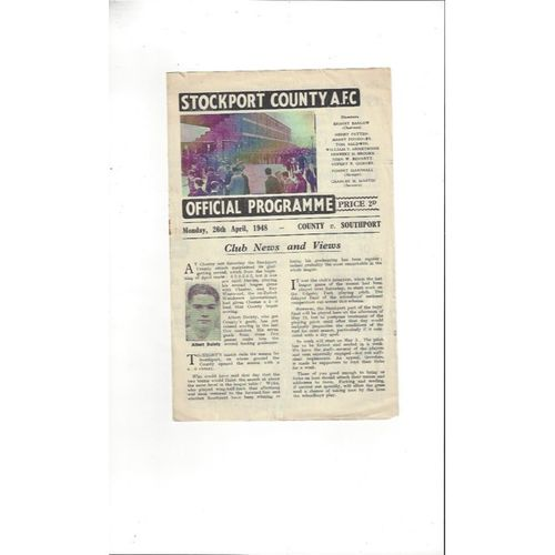 1947/48 Stockport County v Southport Football Programme