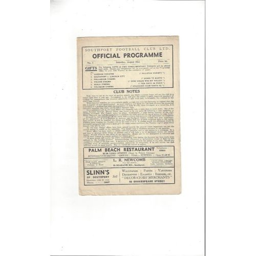 1947/48 Southport v Stockport County Football Programme