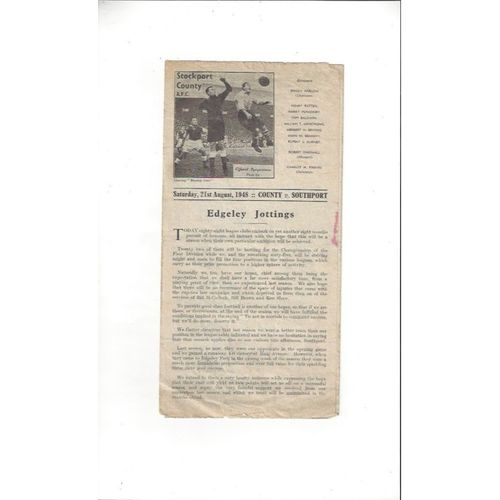 1948/49 Stockport County v Southport Football Programme