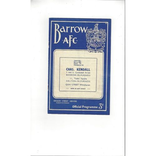 1957/58 Barrow v Southport Football Programme