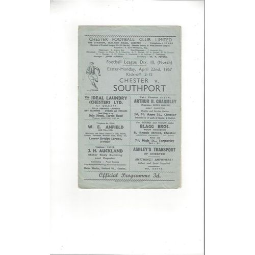 1956/57 Chester v Southport Football Programme