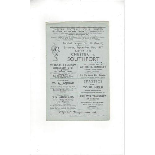 1957/58 Chester v Southport Football Programme